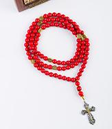 Четки 100 бусин из Агата (цвет красный) с крестом