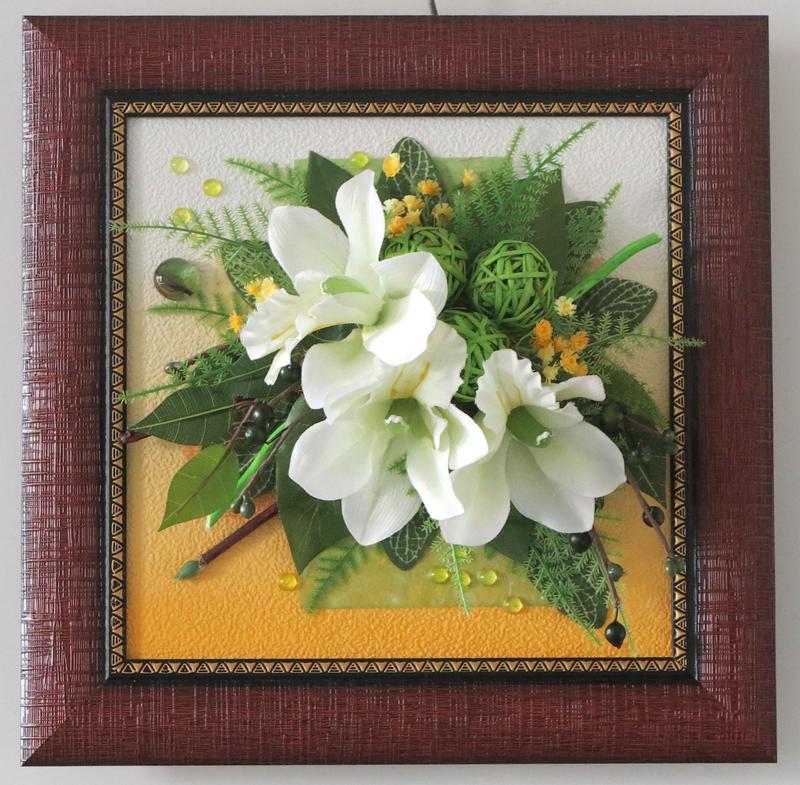 Картина из искусственных цветов своими руками в рамке 39